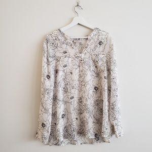 LOFT Women's White Flower Line Long Sleeve Blouse